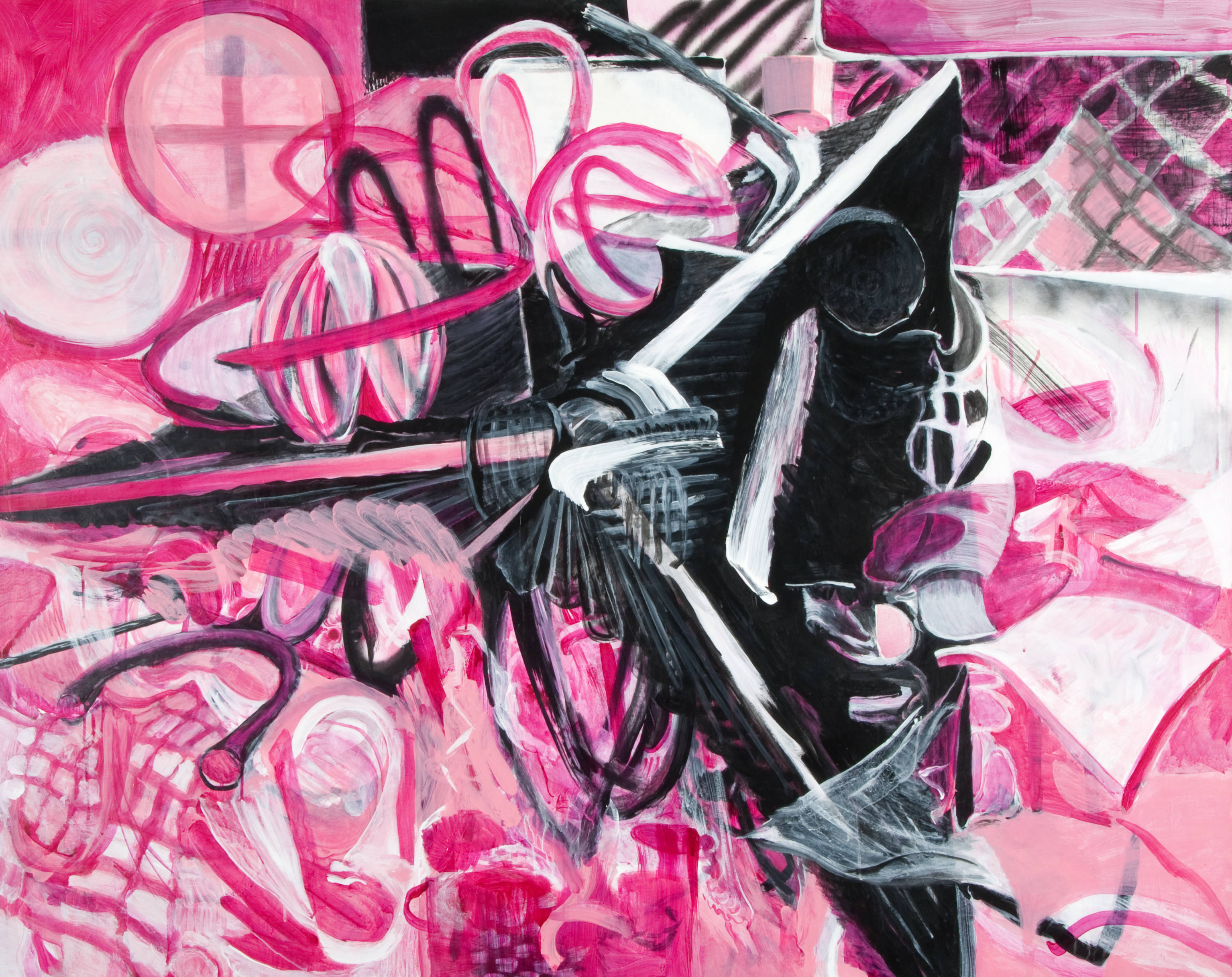 ari lankin, painting, black and white and pink, nyc abstract